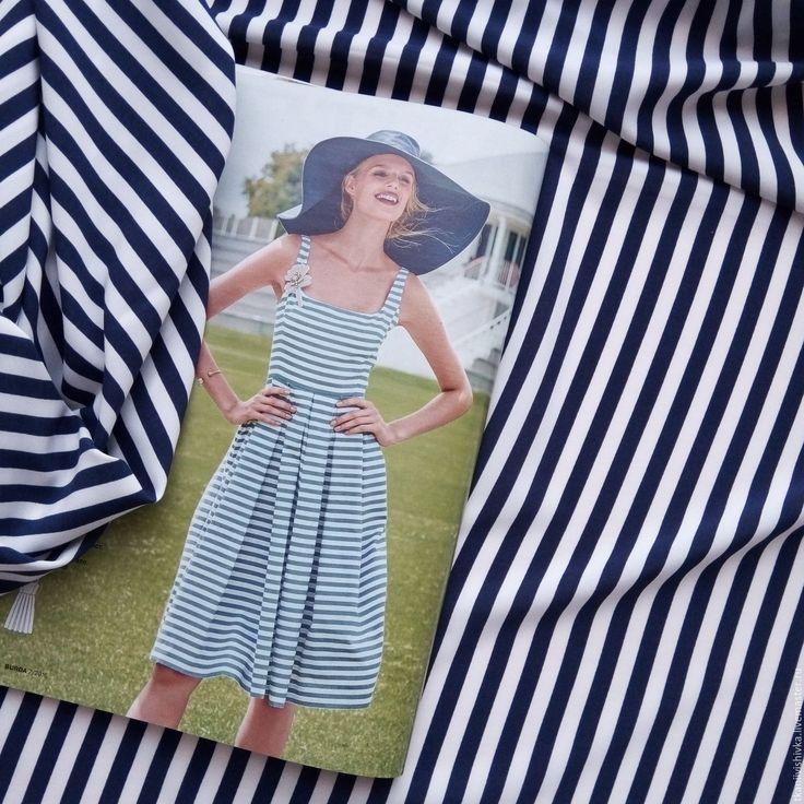 """Купить Ткань софт """"Тельняшка"""" - белый, синий, полоска, морская тема, морская тематика"""