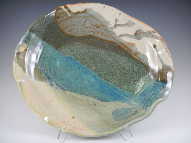 """Beach Colors"" Freeform Plate — Mimi Stadler Pottery- from the group of thrown, stretched and slumped vessels I'm making now."