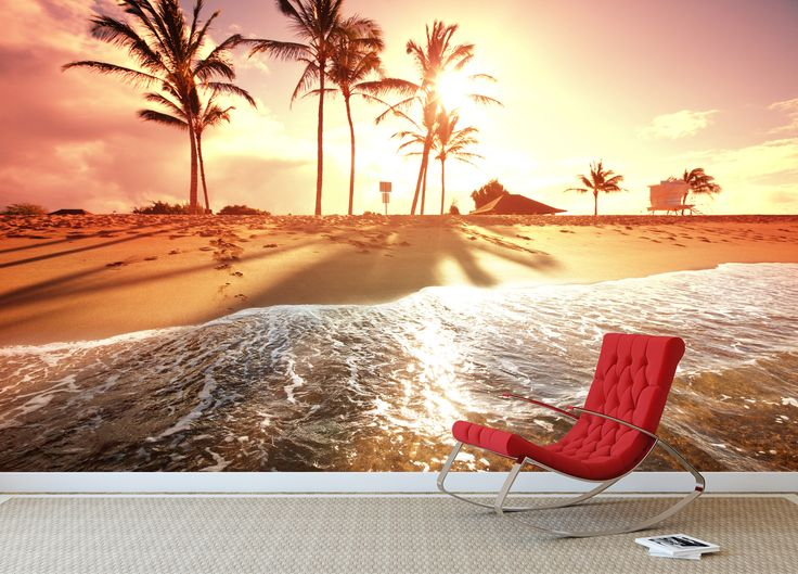17 best images about beach and tropical wall murals on for Beach sunset mural