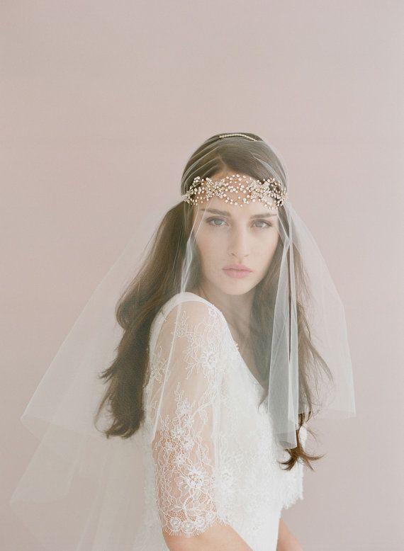 Bridal crystal headband  Triple crystal loops headband  by myrakim, $180.00