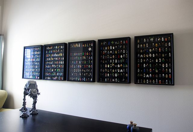 Minifigure Display made out of a shadowbox. Now I am really tempted to make one of these to house all of the few minifigs that I do have. LEGO is on Series 9 of the minifig collections and I just got back into LEGO now! That's a lot that I've missed out on.