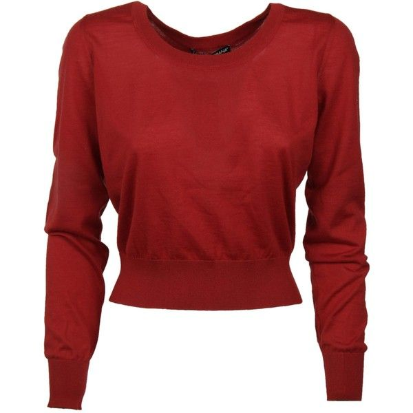 Dolce & Gabbana Cropped Sweater found on Polyvore featuring tops, sweaters, red, cropped sweater, dolce gabbana sweaters, red top, round neck top and long sleeve sweater