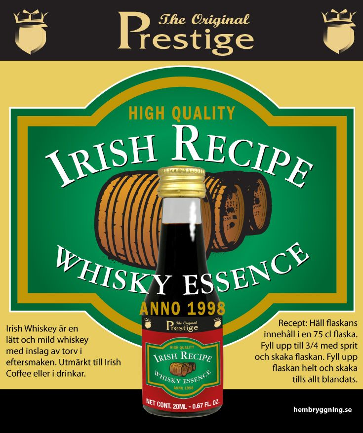 Irish Whiskey är en lätt och mild whiskey med inslag av torv i eftersmaken. Utmärkt till Irish Coffee eller i drinkar.   Recept: Häll flaskans innehåll i en 75 cl flaska. Fyll upp till 3/4 med sprit och skaka flaskan. Fyll upp flaskan helt och skaka tills allt blandats.