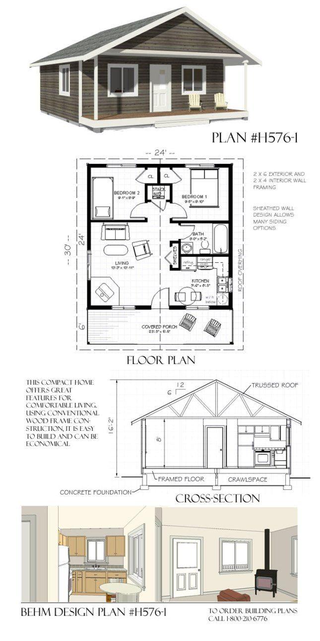 H576 1 24 X 30 Behm Design Small House Plans Tiny House Floor Plans Tiny House Plans