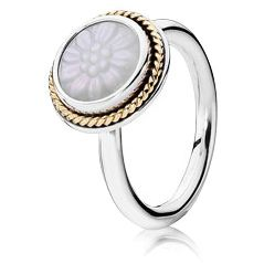 Great Pandora Daisy Signet w-14K and Mother of Pearl Ring