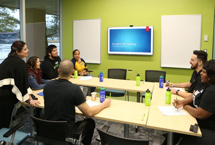A conference room in the Oakton Community College Student Center, a place for students and created by students.
