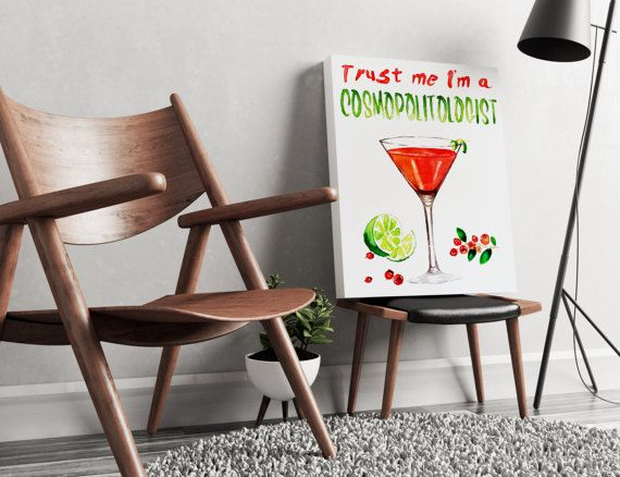 FREE SHIPPING ALL OVER THE WORLD!  Hand painted watercolor art. Cosmopolitan cocktail pun, perfect for your living or kitchen walls. Great gift idea for your friends.  Printed on 100% cotton canvas with wooden frame and metal hanger. Available in 3 dimensions.  Check out our Gin Tonic painting as well: https://www.etsy.com/listing/511956287/wall-art-canvas-lets-begin?ref=shop_home_active_1   ZuskaArt : artwork | watercolor painting | art prints | canvas art | fra...