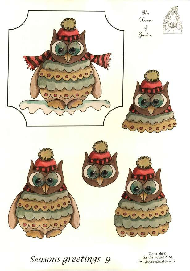 The House of Zandra decoupage - Seasons Greetings 9 - Owl