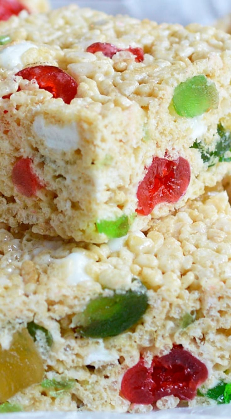Holiday Jeweled Krispy Treats ~ This crispy treat recipe is inspired by fruit cake with a hint of rum flavor and colorful candied fruit!