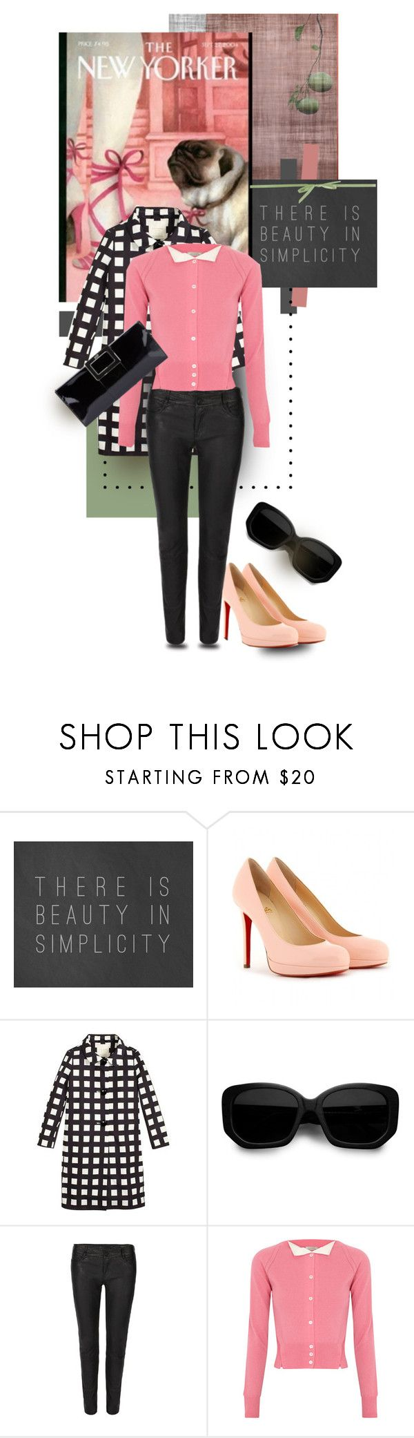 """""""Beautifully Simple"""" by mponte ❤ liked on Polyvore featuring Pomelo, Trilogy, Christian Louboutin, Kate Spade, Acne Studios, AllSaints, Nina Ricci, Roger Vivier, platform heels and patent leather handbags"""