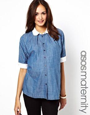 Imagen 1 de Camisa de cambray con cuello en contraste de ASOS Maternity