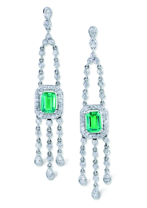Ivy Emerald Stud Chandelier Earrings With Diamond Accents in 18k White Gold, $4680, Moi Moi Fine Jewellery, Shop 16, Level 2, QVB
