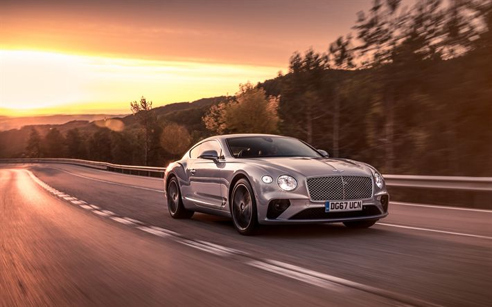 Download wallpapers Bentley Continental GT, road, 4k, 2018 cars, motion blur, new Continental GT, Bentley