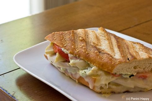 """Garlic Chicken Panini or as the blogger says """"Garlic & Herb-Brined Chicken Breast Panini with Roasted Red Peppers, Marinated Artichokes, Swiss Cheese and Basil Garlic Mayonnaise on a Baguette""""    And the prep is not as difficult as the name..."""