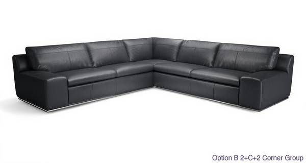 Palladium Option D Right Hand Facing 2 Seater Corner Sofa Fuse Leather | DFS