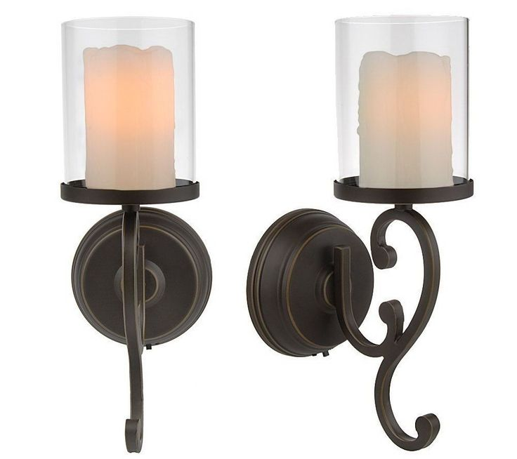 2 Pack Flameless Wax Candle Wall Sconce Oiled Bronze Battery Operated  withTimer #CandleImpressions - 15 Best Battery Operated Wall Scones Images On Pinterest Battery