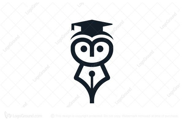 Logo for sale: Owl Fountain Pen Logo. Owl with the body is fountain pen tip, suitable for tuition centre, onlinelearning etc. The symbol itself will looks nice as social media avatar and website or mobile icon. center education school college mortar hat graduation owl hooter clever wise brilliant learning learn design buy purchase sell on sale sold app apps game software application graphic unique recognized professional logo logos