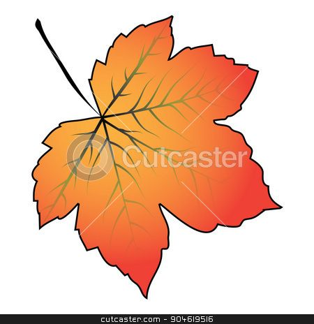 Image of cartoon maple leaf . Vector illustration isolated on white background. stock vect...