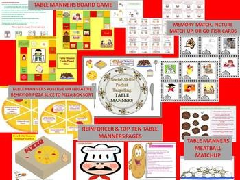 Practicing Pragmatics: Table Manners Social Skills Game &