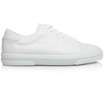 A. P. C. 'TENNIS' LEATHER TRAINER. White. £230.00
