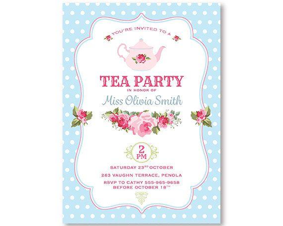 Tea Party Invitation Shabby Chic High Tea Flowers Printable Birthday Invitation Pink Blue Spots Flowers Shabby Chic Invitation Digital Email