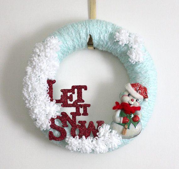 Snowman Wreath, Winter Wreath, Let It Snow Wreath, Yarn and Felt Wreath, 14 inch…