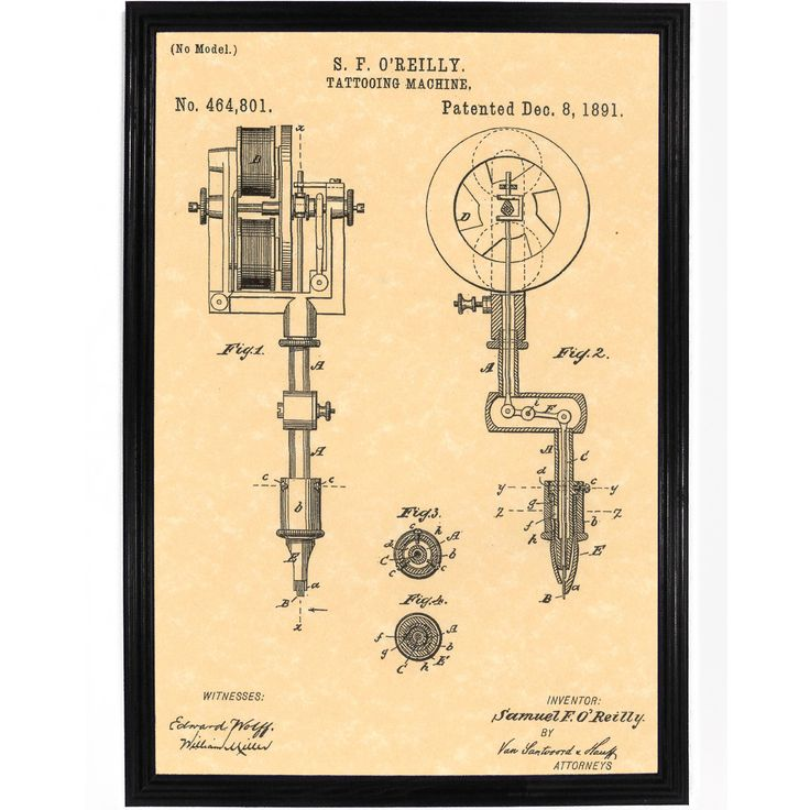 Samuel O'Rielly Electric Tattoo Machine Patent Poster