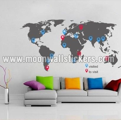 30 best world map stickers images on pinterest world maps vinyl world map with pins sticker moon wall stickers gumiabroncs Image collections