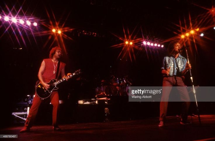 British guitarist Mick Jones and American vocalist Lou Gramm performing live with British-American rock group Foreigner at New Haven Veteran's Coliseum on January 1, 1979 in New Haven, Connecticut.