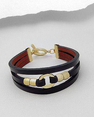 Leather Wrap Bracelet - Black & Gold                                                                                                                                                      More