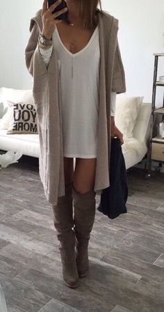 Long cardi and knee high boots