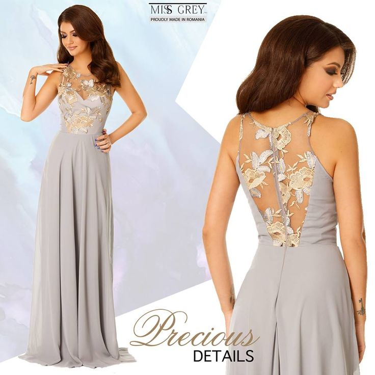 With its precious embroidery and refined textures, the grey Serene dress will ensure you a feminine and fresh look