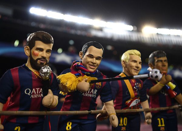 Dolls of Gerard Piquet, Andres Iniesta, Lionel Messi and Neymar of Barcelona are seen prior to the UEFA Champions League Round of 16 second leg match between FC Barcelona and Paris Saint-Germain at Camp Nou on March 8, 2017 in Barcelona, Catalonia.