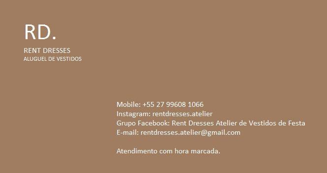 Aluguel de Vestidos de Festa em Vila Velha - ES - Rent Dresses Atelier - Aluguel de Vestidos Mobile/Whatsapp (27) 9 9608 1066 / Fixos: 3388 1992 / 3329 7666  E-mail: rentdresses.atelier@gmail.com Instagram @rentdresses.atelier
