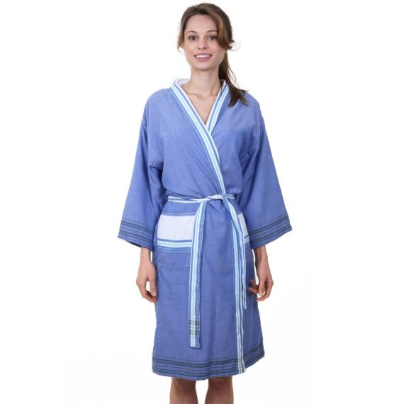 Aspiga Ladies Dressing Gown - Blue Wrap up in luxury with our wonderfully soft cotton dressing gown. It features an cosy white towelling lining so is perfect after a bath or shower or even as a beach cover up. A fabulous gift idea. £48. Worldwide Shipping Available.