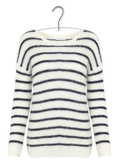 Pull col rond rayé en laine et mohair Thebes Blanc by HARRIS WILSON