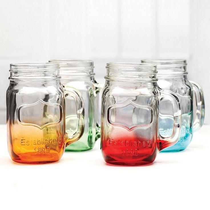 Dip-dye mason jar mugs