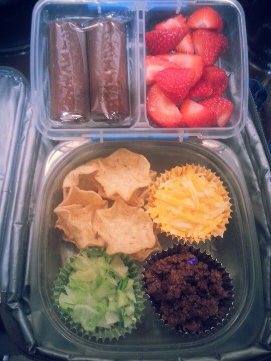 Mini tacos!! I made for my son Jayden's lunch.  He made the basketball team!! Love making cute lunches for him! I also add fun facts on a post it and stick it in there too.   #minitacos #buildyourowntaco