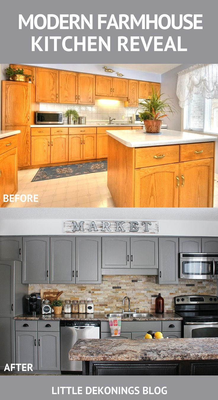 Revealing our modern farmhouse painted kitchen cabinets + before and after photo…