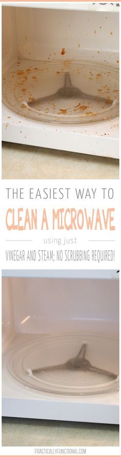 How to clean a microwave in minutes! All you need is vinegar and water, no scrubbing required!