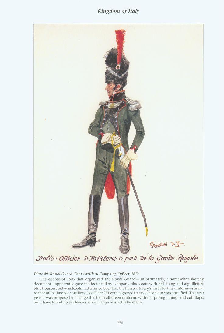Kingdom of Italy: Plate 49: Royal Guard, Foot Artillery Company, Officer, 1812
