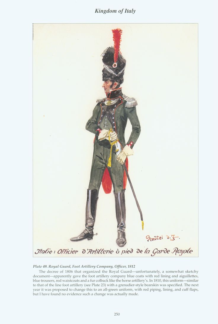 Kingdom of Italy: Plate 49: Royal Guard, Foot Artillery Company, Officer, 1812