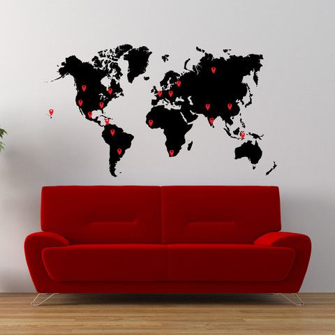 The 25 best world map with pins ideas on pinterest world map vinyl wall decal sticker world map with pin drops 873 multicolors 40 gumiabroncs Image collections