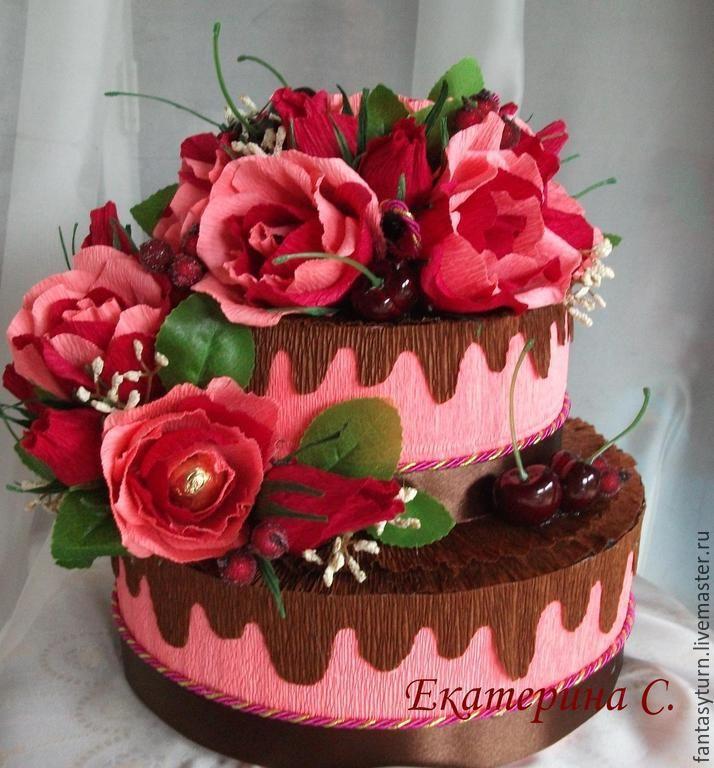 """Купить Торт из конфет """"Вишня в шоколаде"""" - бордовый, красный, вишня в шоколаде, торт"""