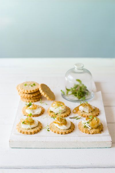 Gruyere & Thyme Crackers with Goats Cheese & Caramelised Onions  |  Crush Online