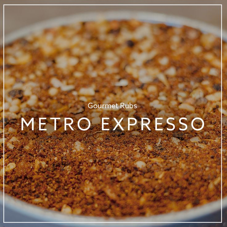 A close-up look at our Metro Expresso Rub. A coffee creation infused with coriander & crushed chilli. Perfect on prime rib roast, pork ribs, steak or roasted chicken. Available on our online store!