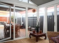 1 lite commercial grade aluminium French doors with louvre sidelites, clear safety glass and premium quality hardware. Door Stop French doors can be fully installed and come with a 7 or 10 year guarantee French doors at Door Stop