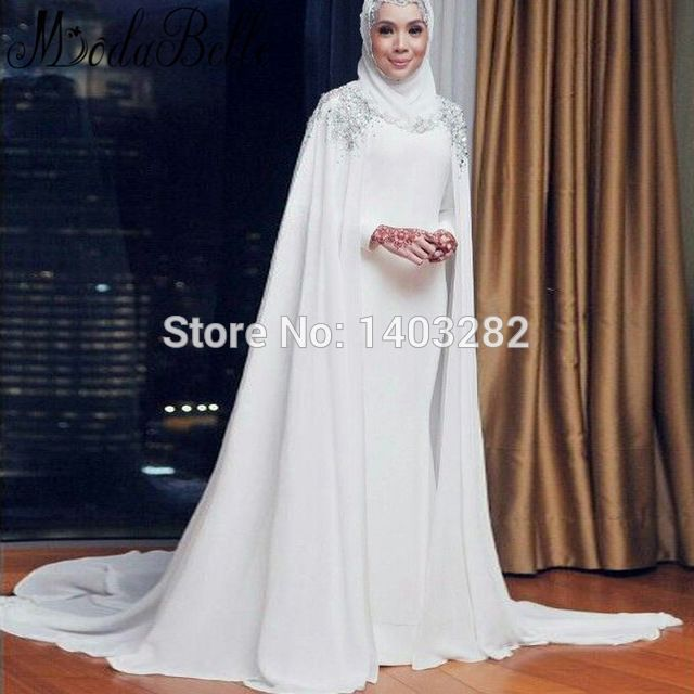 White Muslim Wedding Dresses With Cape Mermaid Beaded Arab Bridal Dresses With Hijab Chiffon Wedding Gowns Vestidos De Novia