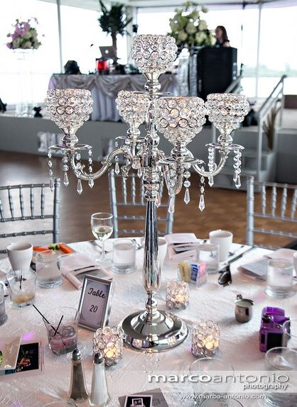 "Crystal Candelabra Centerpieces | :30"" Crystal Candelabra, Crystal Votive Holders & Candles & Crystal ..."