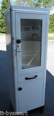 "VTG White Metal Glass Front Lighted Doctors Medicine Cabinet 62"" X 19"" X 14"""
